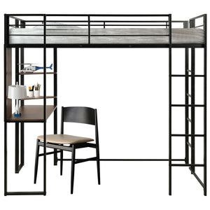 Twin Size Space-Saving Metal Loft Bunk Bed