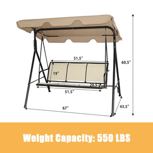 3 Person Patio Swing with Polyester Angle Adjustable Canopy