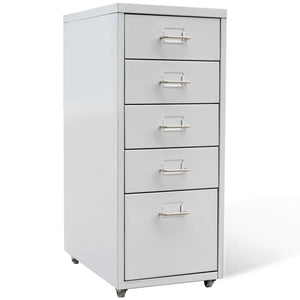 "File Cabinet with 5 Drawers Gray 27"" Steel"