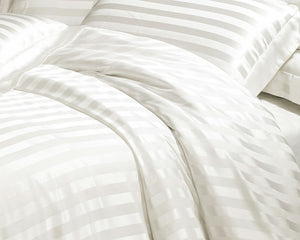 Taihu Snow Silk Simple  Luxury White Stripe Mulberry Silk Sheet Set