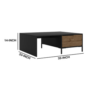 DunaWest Wood and Metal Rectangular Accent Coffee Table with Drawer, Brown and Black