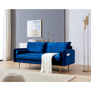 "Velvet Fabric sofa with pocket-71""Blue"
