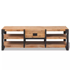 "TV Stand Solid Acacia Wood 55.1""x15.7""x17.7"""