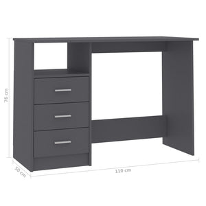 "Desk with Drawers Gray 43.3""x19.6""x29.9"" Chipboard"