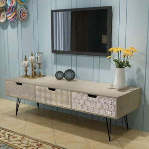 "TV Stand Cabinet with 3 Drawers 47.2""x15.7""x14.2"" Gray"