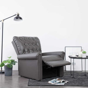 Reclining Chair Gray Faux Leather
