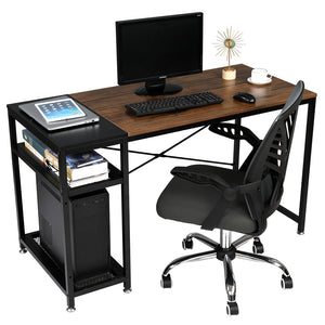 Computer Home Office Desk, 51 Inch Small Desk Study Writing Table with Storage Shelves, Modern Simple PC Desk with Splice Board, Walnut/Black