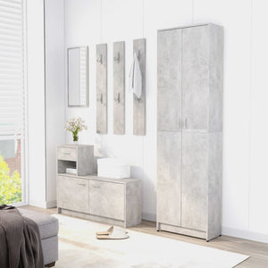 "Hallway Wardrobe Concrete Gray21.7""x9.8""x74.4"" Chipboard"