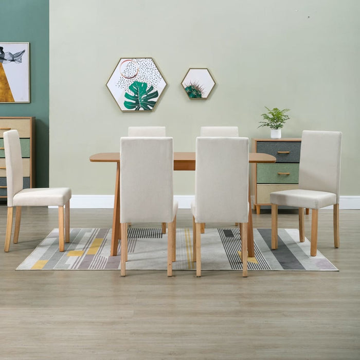 Dining Chairs 6 pcs Cream Fabric