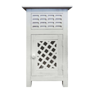 Single Drawer Wooden Side Accent Table with Door Cabinet, Antique White