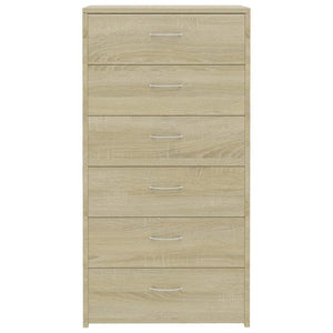 "Sideboard with 6 Drawers Sonoma Oak 23.6""x13.4""x37.8 Chipboard"