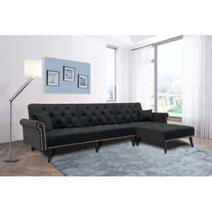 Velvet Convertible Black sleeper Sofa Bed