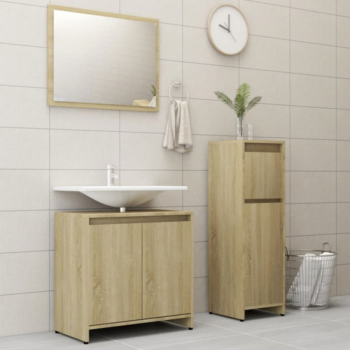Modern Bathroom Furniture Set Sonoma Oak