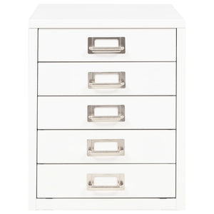 "Filing Cabinet with 5 Drawers Metal 11""x13.8""x13.8"" White"