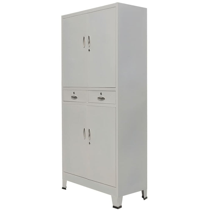Office Cabinet with 4 Doors Steel, Gray