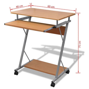 Computer Desk Pull Out Tray Brown Furniture Office Student Table