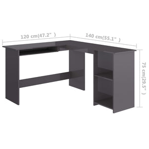 L-Shaped Corner Desk High Gloss Gray Chipboard