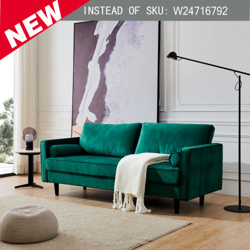 "Mid-Century Modern Velvet fabric Bench Sectional Couch Sofa, 79""W Emerald"
