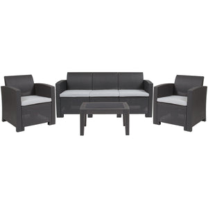 4 Piece Outdoor Faux Rattan Chair, Sofa and Table Set
