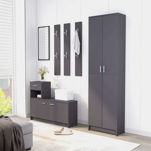 "Hallway Wardrobe Gray 21.7""x9.8""x74.4"" cm Chipboard"