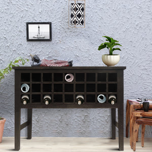 Wooden Side Accent Table with Multiple Storage Slots