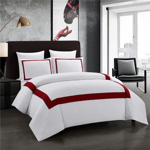 SAXTX Hotel Collection Embroidered King Duvet Cover Set in White/Red - Premium, Soft, Easy-Wash Microfiber