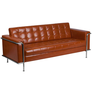 HERCULES Lesley Series Contemporary LeatherSoft Double Stitch Detail Sofa with Encasing Frame