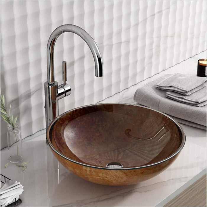 F&R Glass Vessel Bathroom Sink, Handmade Artistic Tempered Glass Vessel Sink