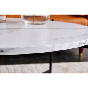Modern Nesting coffee table,Black color frame with marble top-36""