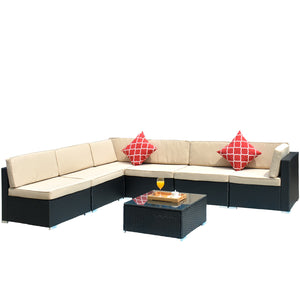 Wicker Patio Conversation Set with CushionGuard Cushions Black Frame
