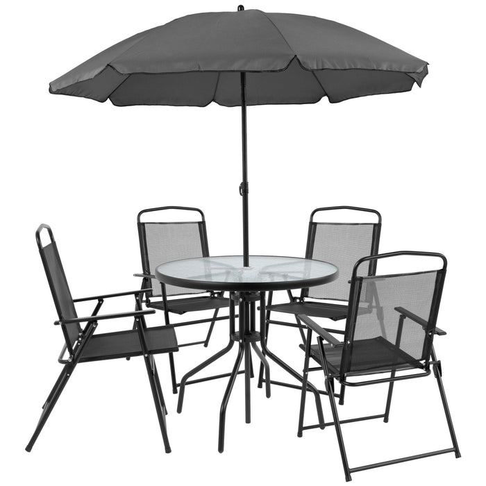 Nantucket 6 Piece Patio Garden Set with Table, Umbrella and 4 Folding Chairs