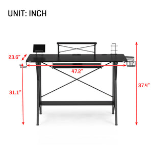 "47"" Gaming Desk Table, E-Sports Computer Desk with PC Stand Shelf"