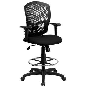 Mid-Back Designer Back Drafting Chair with Adjustable Arms