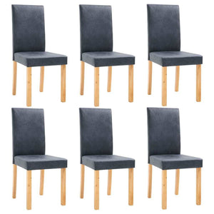 Dining Chairs 6 pcs Gray Faux Leather