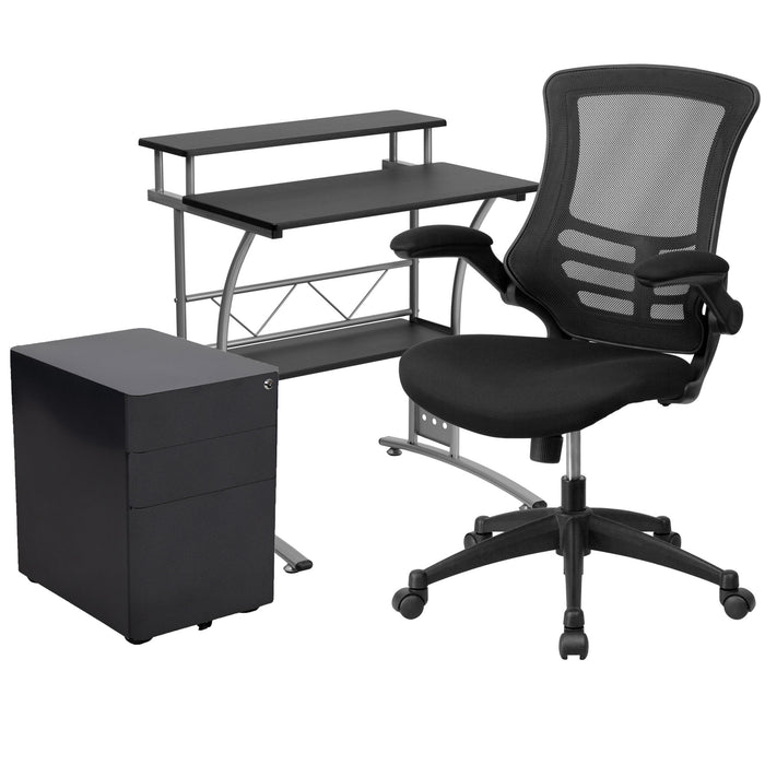 Computer Desk, Chair and Locking Mobile Filing Cabinet