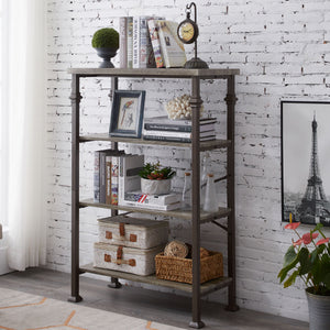 Free shipping 4-Tier Bookshelf, Rustic Industrial Style Bookcase Furniture, Free Standing Storage Shelves for Living Room Bedroom and Kitchen, Grey Oak