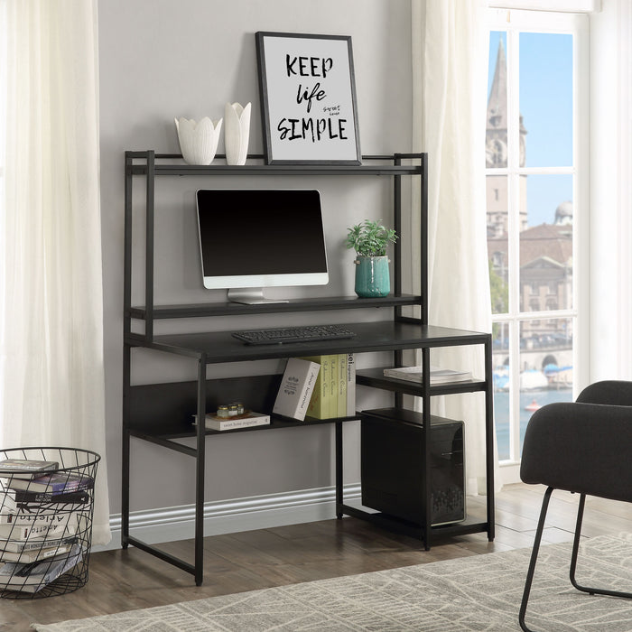 Desk with 2-Tier Bookshelf and Open Storage Shelf