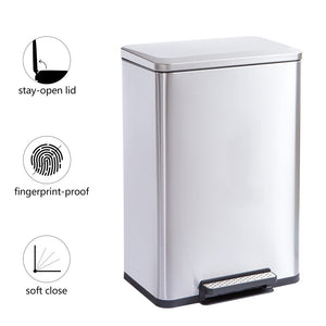 Stainless Steel, Soft-Close, Step Trash Can