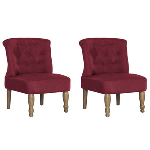 French Chairs 2 pcs Wine Red Fabric