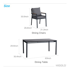 Higold - Gloria 7 Pieces Patio Dining Sets for Outdoor Dining Using, with Grade A Teak Wood, Matte Charcoal Aluminum Finish, Black Cushions