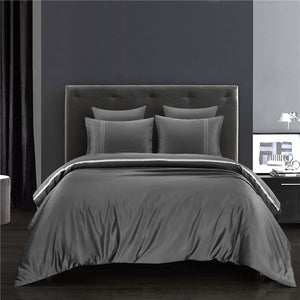 Premium Luxury Silk Satin Queen Duvet Cover Set with Silver Ribbons - Wrinkle-Resistant, Hypo-allergic