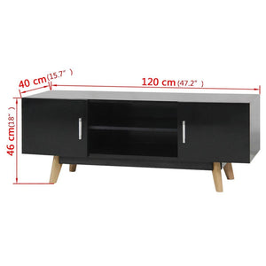 "High Gloss TV Stand Cabinet Black 47.2""x15.7""x18"" MDF"