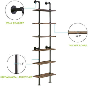 Modern Ladder Shelf Bookcase Rustic Display Bookshelf