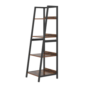 Free shipping  Ladder Shelf, 4 Tier Industrial Bookcase, Multifunctional Display Bookshelf, Wooden Look Plant Flower Stand with Metal Frame, Decor Furniture for Home Office