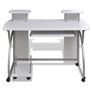 Computer Desk with Pull-out Keyboard Tray White Cart Game Laptop Table