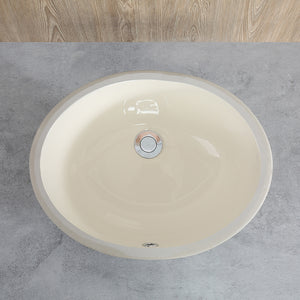 Undercounter Bathroom Ceramic Sink, Biscuit