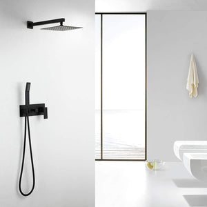 RBROHANT Solid Brass Matte Black Shower System, High Pressure Rainfall Shower Fixtures Complete Faucets Sets, 10 Inch Black Shower Head Combo Luxury Rain Mixer (Valve include) RCS85003B