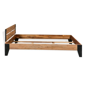 "Bed Frame Solid Acacia Wood Steel 59.8""x79.9"""