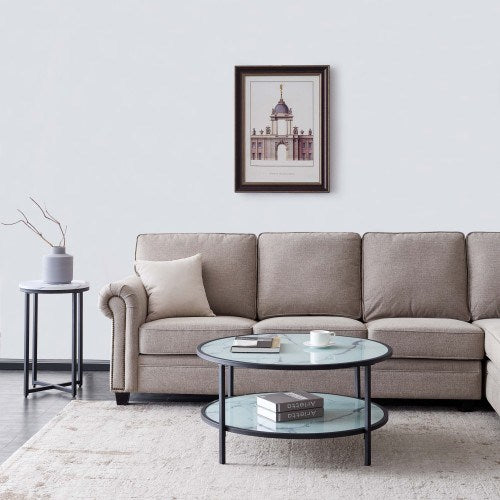 Glass Coffee Table With Large Storage Space All Day Modern