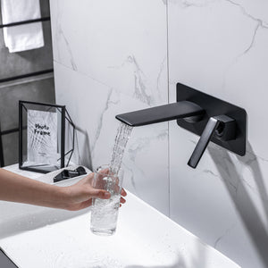 Single Handle Wall Mounted Bathroom Faucet, Matt Black